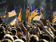 Catalans Protesting For Independence In Barcelona