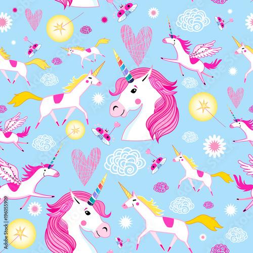 Fototapeta Seamless funny pattern from unicorns