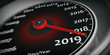 canvas print picture - 2019 new year. Car speedometer gauge closeup detail. 3d illustration