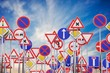 canvas print picture - Many road signs against blue sky. 3D rendered illustration.