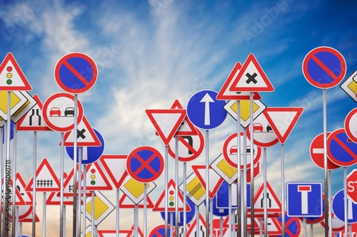 Obraz Many road signs against blue sky. 3D rendered illustration. - fototapety do salonu