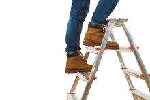 The Legs On The Ladder On The White Background
