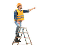 The Smile Builder On The Ladder Gesturing On The White Background