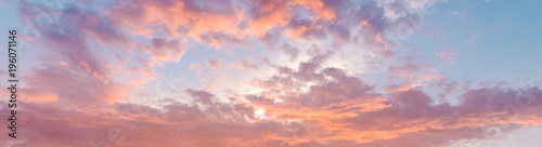 Fiery orange, pink and blue very beautiful sunset sky фототапет