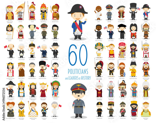 Cuadros en Lienzo Kids Vector Characters Collection: Set of 60 relevant Politicians and Leaders of History in cartoon style
