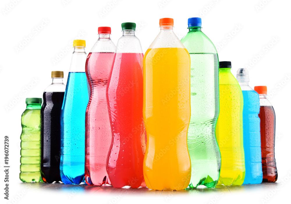 Fototapety, obrazy: Plastic bottles of assorted carbonated soft drinks over white