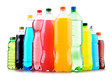 canvas print picture - Plastic bottles of assorted carbonated soft drinks over white