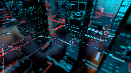 Abstract 3d circuit city concept of connection. Digital skyscrappers. - 196076777