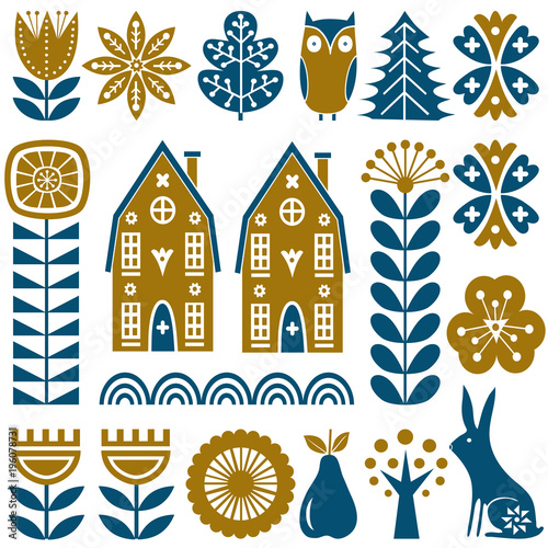 Fotografija  Scandinavian folk art seamless vector pattern with flowers, trees, rabbit, owl,