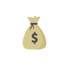 Money Bag Vector Icon, Moneybag And Dollar Sign Isolated On White Background, Vector Illustration.