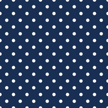 White Polka Dots On Navy Blue Background