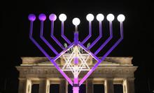 Menorah During Hanukkah In Par...