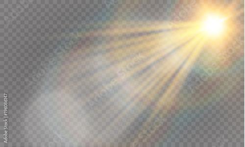 Fototapeta Abstract lens gold front solar flare transparent special light effect design. obraz na płótnie