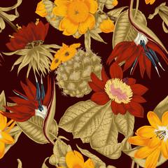 FototapetaБесшовный фон в стиле винтаж. Экзотические цветы.