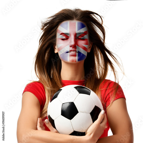 Fotografie, Obraz  England fan sport woman player in red uniform hold soccer ball celebrating with