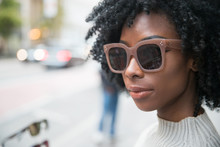 African American Woman With Dark Sunglasses
