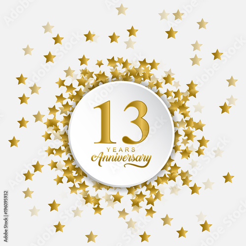 Happy 13 Years Anniversary With Fly Out Gold Stars Buy This Stock Vector And Explore Similar Vectors At Adobe Stock Adobe Stock