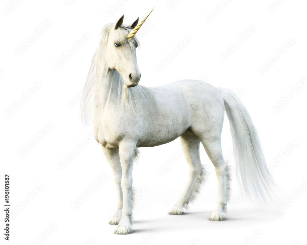 Fototapety, obrazy: Majestic unicorn posing on a white isolated background. 3d rendering