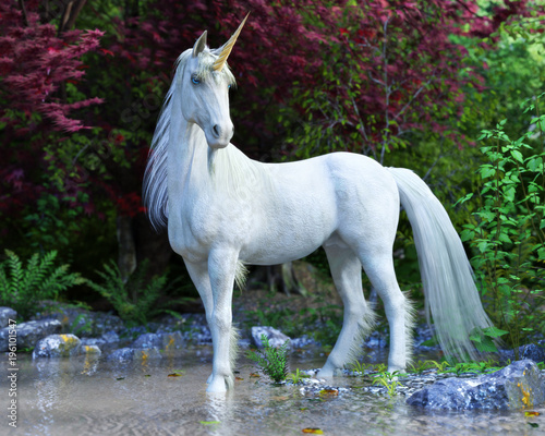 Majestic Unicorn posing in an enchanted forest