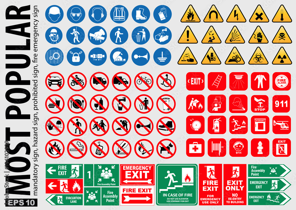 Fototapeta Most Popular signs (mandatory sign, hazard sign, prohibited sign, fire emergency sign). ready source in sticker, poster, web, brochure,flyer, and another printing material. easy to modify