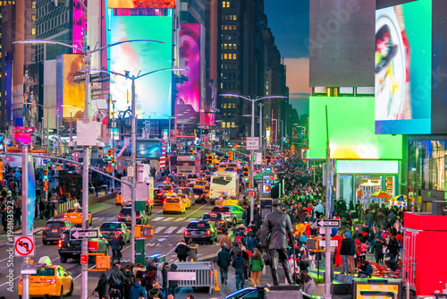 Fotobehang Amerikaanse Plekken Times Square, iconic street of Manhattan in New York City