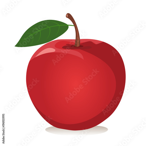 Fotografie, Obraz Red apple Vector illustration