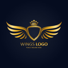Winged Shield Gold With Crown. Icon Template