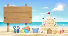 Wood Board Sign On Sea Sand Beach With Sand Castle