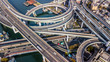 canvas print picture - Osaka Expressway top view, Top view over the highway, expressway and motorway, Aerial view interchange of Osaka City, Expressway is an important infrastructure in Osaka City, Japan.