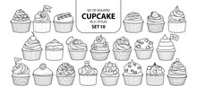 Set Of Isolated Cupcake In 21 Styles Set 10.