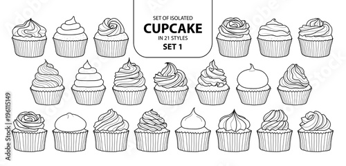 Set of isolated cupcake in 21 styles set 1. Canvas Print