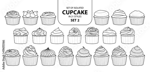 Photo  Set of isolated cupcake in 21 styles set 2.