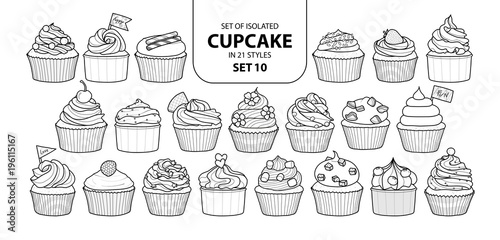 Carta da parati  Set of isolated cupcake in 21 styles set 10.