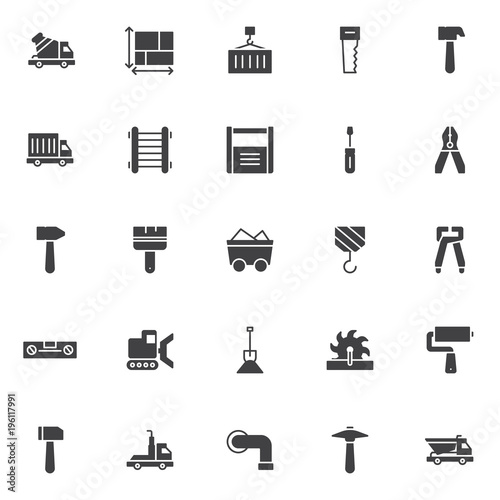 Construction Vector Icons Set Modern Solid Symbol Collection