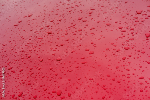 Stickers pour porte Autruche Water drops on red metallic surface of modern car