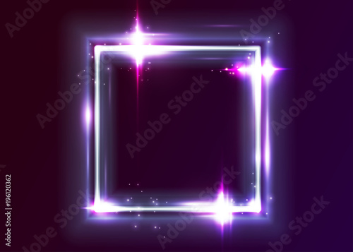 4ac61ced Vector Neon Rectangle Frame. Shining Square Shape with Vibrant Electric Blue,  Pink, Violet Colors. Led Light Effect. Glowing Design for Party Decoration,  ...