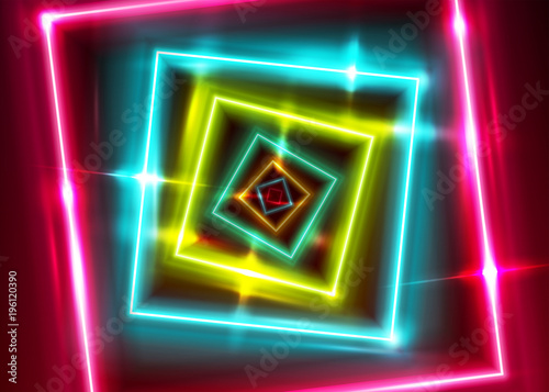 d4ec8ca8 Vector Neon Rectangle Frame. Shining Square Shape with Vibrant Ultraviolet  Colors. Led Light Effect