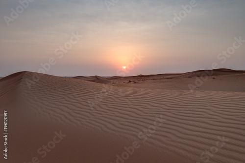 Photo  Wüste in Dubai zum Sonnenuntergang