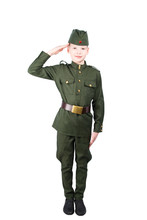 Child Boy In Military Uniform,...