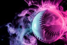 White Baseball Ball In Multi-c...