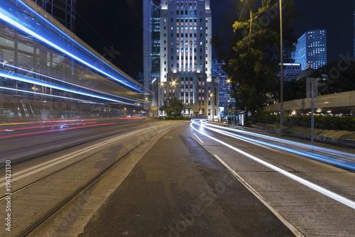 Photo  Night Traffic in Hong Kong city