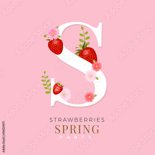 Alphabet s with realistic vector strawberries spring design with alphabet s with realistic vector strawberries spring design with strawberries and pink flowers beautiful mightylinksfo