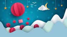 Air Balloon Illustration. Cartoon Paper Landscape. Vector Eps 10