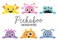 Set Of Cute Peekaboo Monsters ...