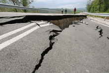Road Collapses With Huge Crack...