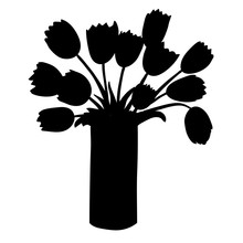 Black Silhouette Of Tulips In ...