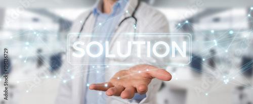 Fotografie, Tablou Doctor using modern digital solution interface 3D rendering