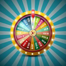 Wheel Of Fortune On Retro Blue...