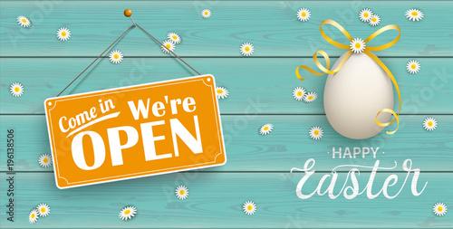 Happy Golden Easter Eggs Daisy Wooden Open Turquoise Header Billede på lærred