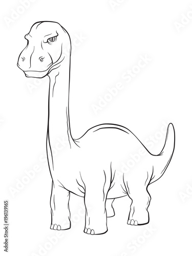 Photo  Apatosaurus Dinosaur, Long Neck Creature Monster in an Ancient Nature